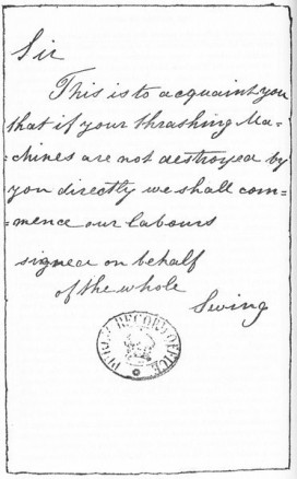 Carta amenazadora firmada por Swing.