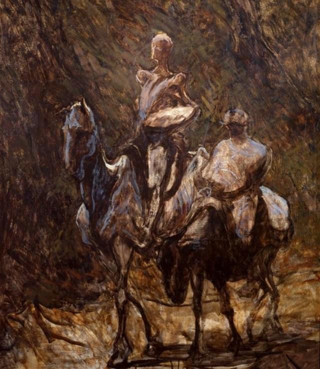"""""""Don Quijote y Sancho Panza"""" (1870). Honoré Daumier."""