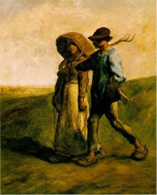 """""""Camino al trabajo"""" (1851), óleo de Jean-François Millet."""
