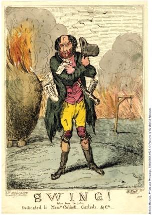 "Lámina de Henry Heath titulada ""Swing!"" (1830, Museo Británico)."