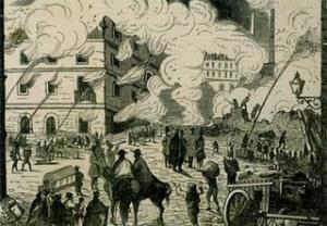 """Incendio de """"El Vapor"""". Grabado de la época."""