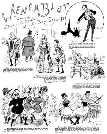 """Página que la revista """"Der Floh"""" dedicó a la opereta """"Wiener Blut"""" poco después de su estreno."""