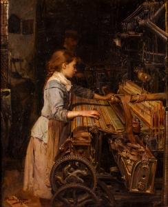 """""""La nena obrera"""" (1885), óleo de Joan Planella i Rodríguez."""