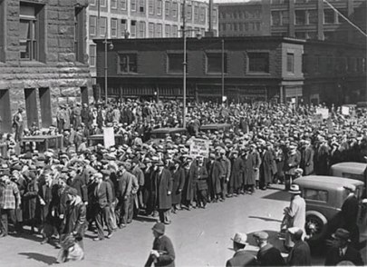 Manifestación de desempleados (Minneapolis, Estados Unidos, 1934).