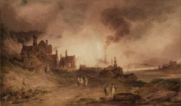 """Bedlam Furnace, Madeley Dale, Shropshire"" (1803), acuarela de Paul Sandby Munn."