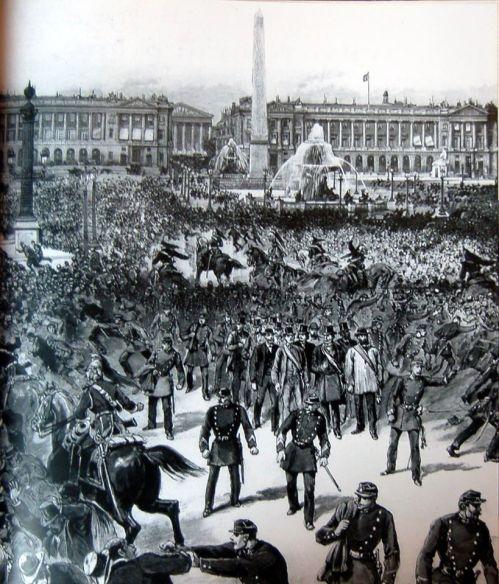 Manifestación del Primero de Mayo en la plaza de la Concordia de París (1890).