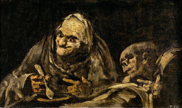 """""""Dos viejos comiendo sopa"""" (1821-1823), óleo sobre muro, trasladado a lienzo, de Francisco de Goya."""