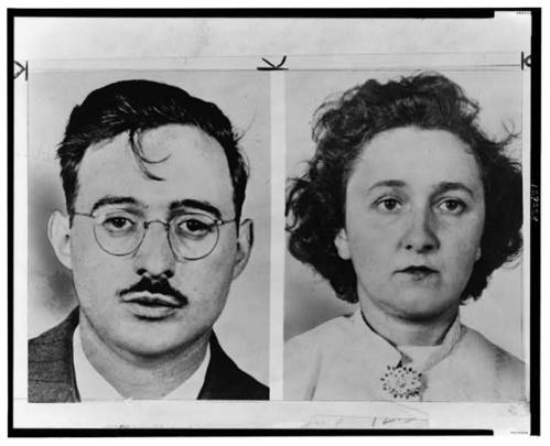 Julius y Ethel Rosenberg. Fotografías de sus fichas policiales.