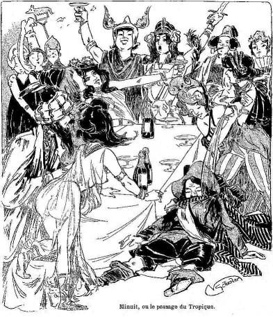 Banquet costumé d'artistes pour la Mi-Carême 1901 à Paris. Comme aux bal des Quat'z'Arts, les modèles y figurent pratiquement nus