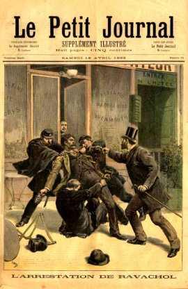 """Portada de """"Le Petit Journal"""" (16 de abril de 1892) que recrea la detención de Ravachol."""