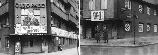 El cabaret berlinés ElDorado a finales de 1932 (izquierda) y en febrero-marzo de 1933 (derecha). / Bundesarchiv