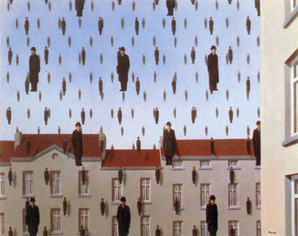 """""""Golconde"""" (1953), óleo de René Magritte."""