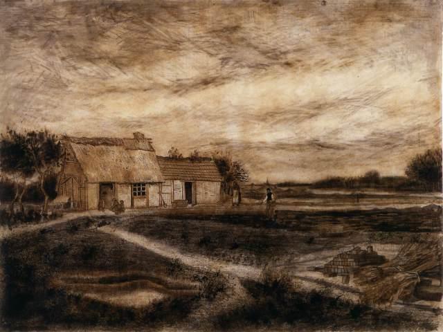 """""""Granero con tejado"""" (1881), dibujo de Vincent van Gogh."""