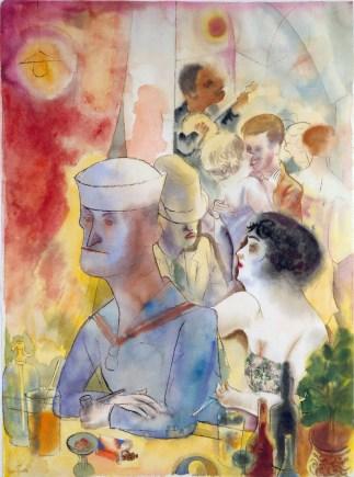 """""""Marinero en un club nocturno"""" (1925), acuarela de George Grosz."""