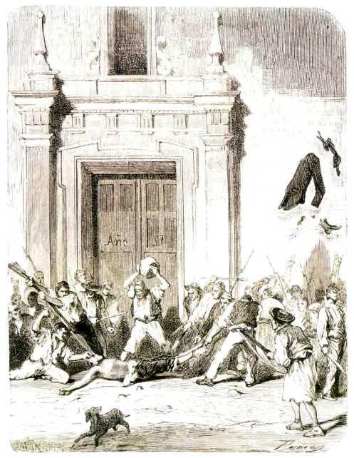 """Muerte de Agustín Albors según un grabado de """"La Ilustración Española y Americana"""" (1 de agosto de 1873)."""