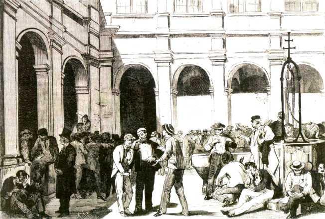 """Mayores propietarios detenidos como rehenes según un grabado de """"La Ilustración Española y Americana"""" (1 de agosto de 1873)."""