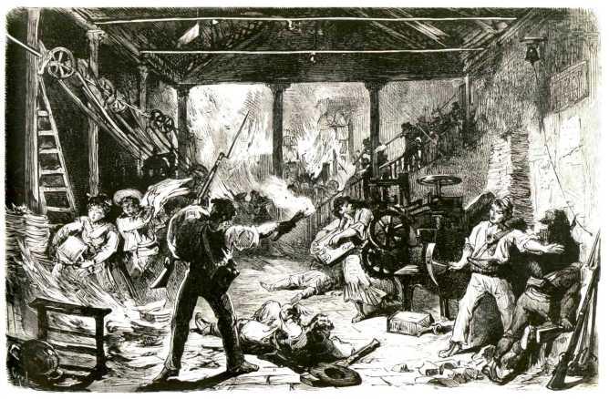 """Huelguistas en una fábrica según un grabado de """"La Ilustración Española y Americana"""" (1 de agosto de 1873). Lo cierto es que ninguna fábrica fue incendiada."""