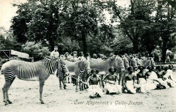 Nativos oromos (Etiopía), conocidos entonces como gallas, en el zoológico de Hamburgo (Alemania) en 1908.