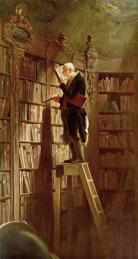 """El ratón de biblioteca"" (1850), óleo de Carl Spitzweg."