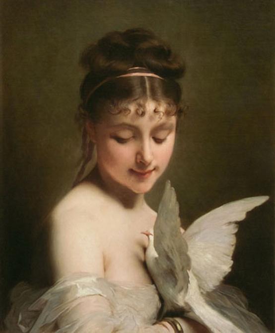 """""""Joven con una paloma"""" (1869), óleo de Charles Joshua Chaplin."""