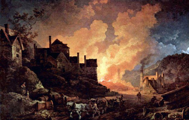 """Coalbrookdale de noche"" (1801), óleo de Philip James de Loutherbourg."