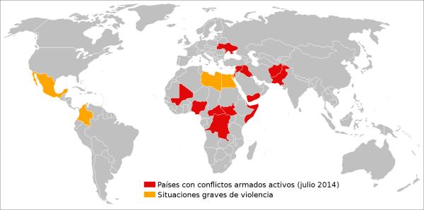 """Países con conflictos armados activos y con situaciones graves de violencia. / """"20 minutos"""""""