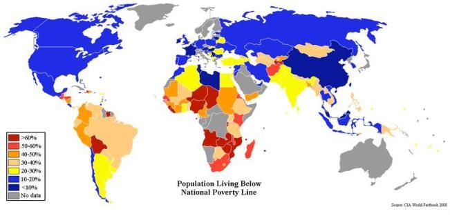 Porcentajes de población que vive por debajo de la línea de pobreza nacional (2008) / CIA World Factbook.