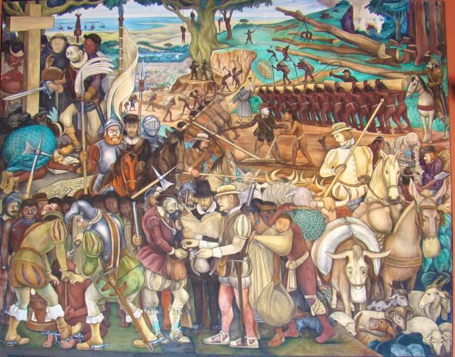 """""""La conquista española de la nación azteca"""" (1951), mural de Diego Rivera. Palacio Nacional de la Ciudad de México."""