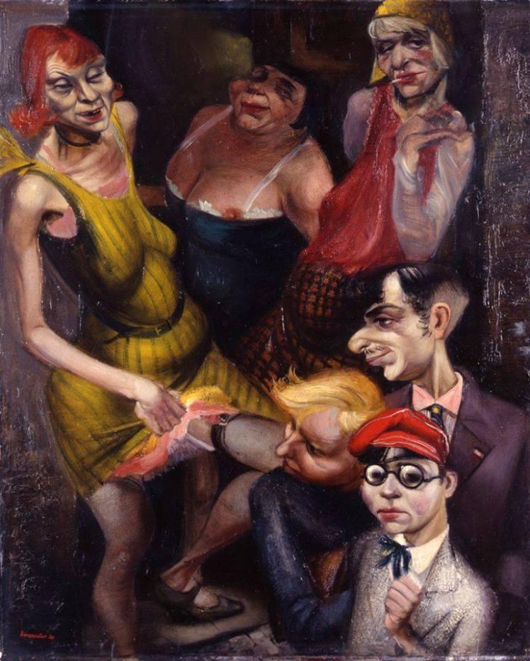 """Bordeelscene"" (1930), lienzo de Rudolf Bergander."