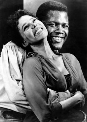 """Dorothy Dandridge y Sidney Poitier durante el rodaje de """"Porgy and Bess""""."""