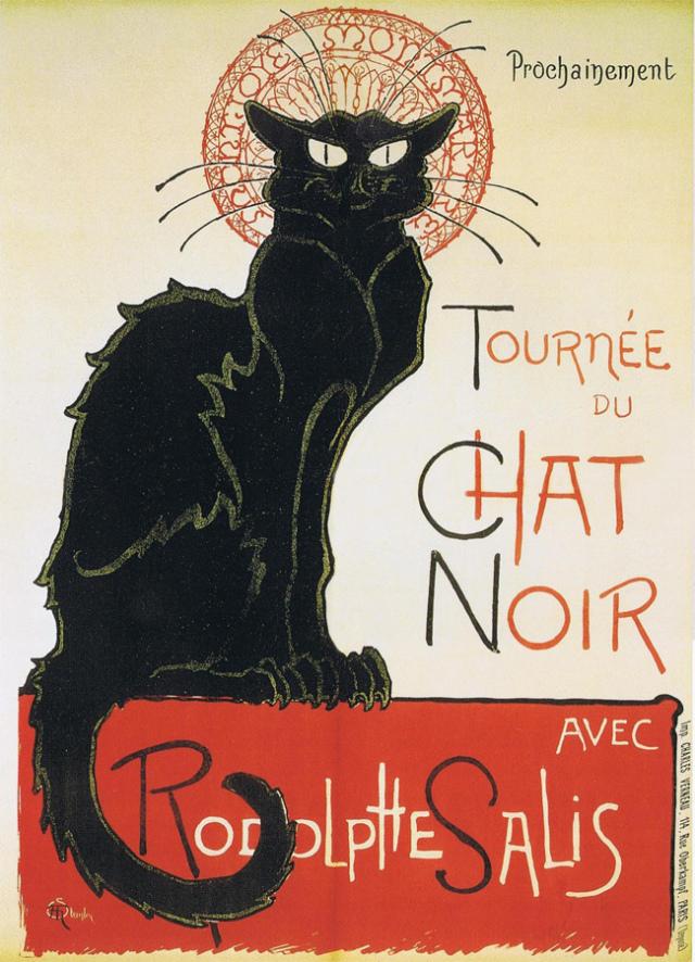 Cartel publicitario de Le Chat Noir (1896), obra de Théophile-Alexandre Steinlen