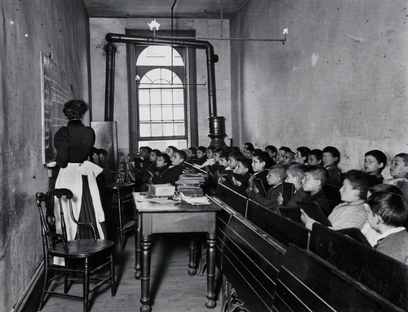 A Class in the Condemned Essex Market School, With the Gas Burning by Day. Via Preus Museum
