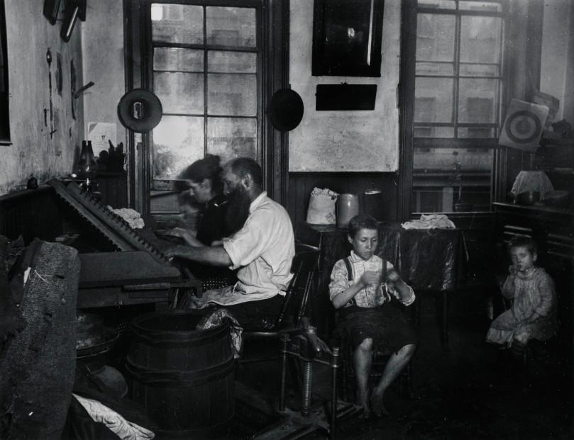 Bohemian Cigarmakers at work in their Tenement. Via Preus Museum