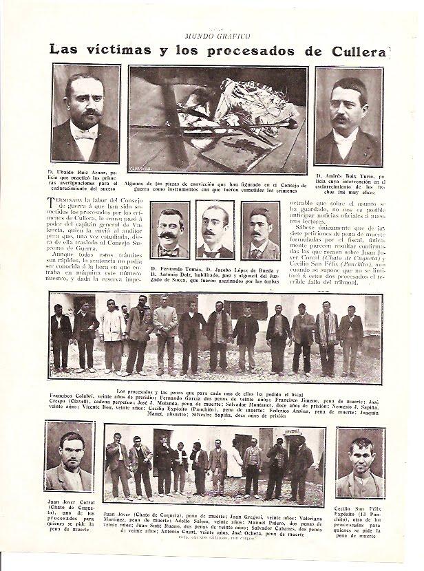 """""""Las víctimas y los procesados de Cullera"""" / Mundo Gráfico año I, núm. 2, 8 de noviembre de 1911."""