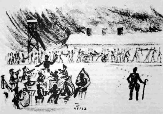 Dibujo realizado en secreto por François Reisz en el campo de exterminio de Birkenau.